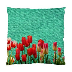 Green Denim Flowers Standard Cushion Case (two Sides)