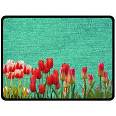 Green Denim Flowers Double Sided Fleece Blanket (large)  by snowwhitegirl