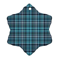 Teal Plaid Snowflake Ornament (two Sides)