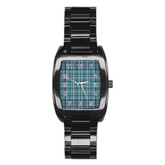 Teal Plaid Stainless Steel Barrel Watch