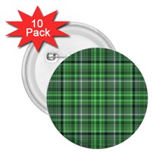 Green Plaid 2 25  Buttons (10 Pack)