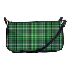 Green Plaid Shoulder Clutch Bag