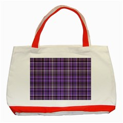 Purple  Plaid Classic Tote Bag (red)