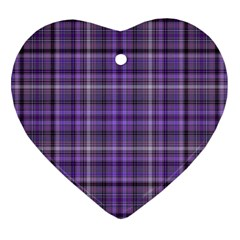 Purple  Plaid Heart Ornament (two Sides)