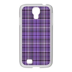 Purple  Plaid Samsung Galaxy S4 I9500/ I9505 Case (white)