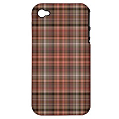 Peach  Plaid Apple Iphone 4/4s Hardshell Case (pc+silicone)