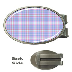 Pink Blue Plaid Money Clips (oval)