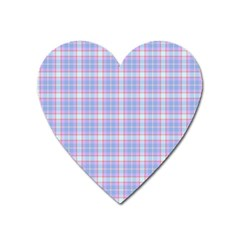 Pink Blue Plaid Heart Magnet