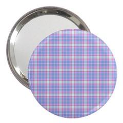 Pink Blue Plaid 3  Handbag Mirrors