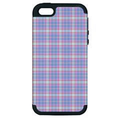Pink Blue Plaid Apple Iphone 5 Hardshell Case (pc+silicone)