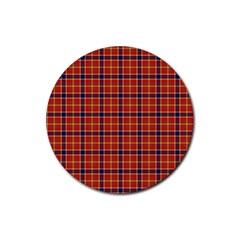 Red Yellow Plaid Rubber Coaster (round)