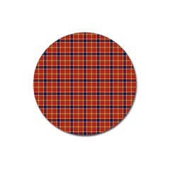 Red Yellow Plaid Magnet 3  (round)