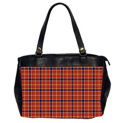 Red Yellow Plaid Oversize Office Handbag (2 Sides)