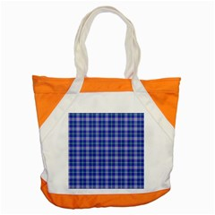 Blue Teal Plaid Accent Tote Bag by snowwhitegirl