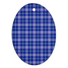 Blue Teal Plaid Oval Ornament (two Sides)