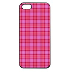 Valentine Pink Red Plaid Apple Iphone 5 Seamless Case (black)