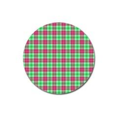 Pink Green Plaid Magnet 3  (round) by snowwhitegirl