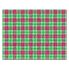 Pink Green Plaid Rectangular Jigsaw Puzzl by snowwhitegirl