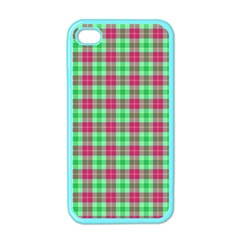 Pink Green Plaid Apple Iphone 4 Case (color)
