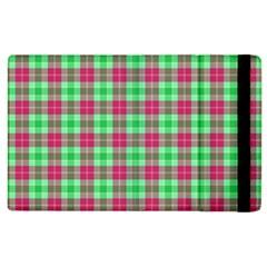 Pink Green Plaid Apple Ipad 3/4 Flip Case