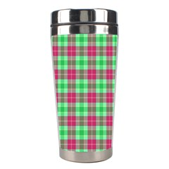 Pink Green Plaid Stainless Steel Travel Tumblers