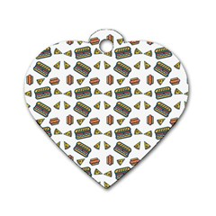 Fast Food White Dog Tag Heart (one Side)