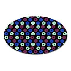 Eye Dots Blue Magenta Oval Magnet