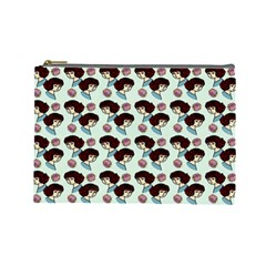 Redhead Girl Blue Cosmetic Bag (large)