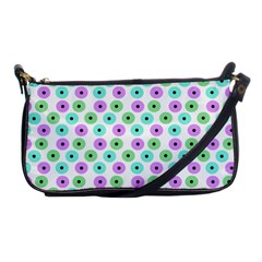 Eye Dots Green Violet Shoulder Clutch Bag