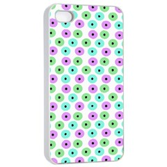 Eye Dots Green Violet Apple Iphone 4/4s Seamless Case (white)