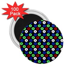 Eye Dots Green Blue Red 2 25  Magnets (100 Pack)