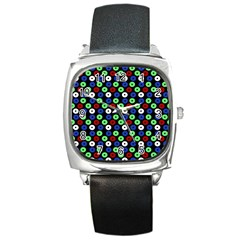Eye Dots Green Blue Red Square Metal Watch by snowwhitegirl