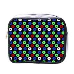 Eye Dots Green Blue Red Mini Toiletries Bag (one Side)