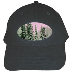Winter Trees Pink Black Cap