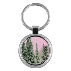Winter Trees Pink Key Chains (round)