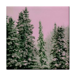 Winter Trees Pink Face Towel