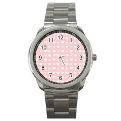 Hearts Dots Pink Sport Metal Watch