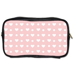 Hearts Dots Pink Toiletries Bag (two Sides)