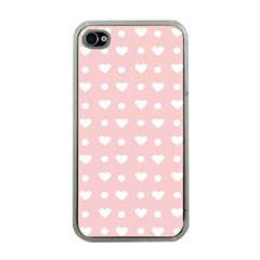 Hearts Dots Pink Apple Iphone 4 Case (clear)