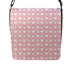Hearts Dots Pink Flap Closure Messenger Bag (l)