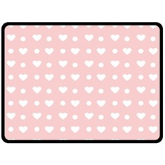 Hearts Dots Pink Double Sided Fleece Blanket (large)
