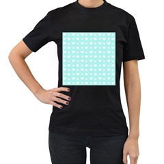 Hearts Dots Blue Women s T Shirt (black) (two Sided)
