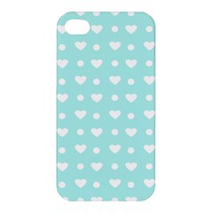 Hearts Dots Blue Apple Iphone 4/4s Premium Hardshell Case