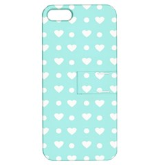 Hearts Dots Blue Apple Iphone 5 Hardshell Case With Stand