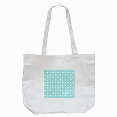 Hearts Dots Blue Tote Bag (white)