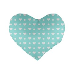Hearts Dots Blue Standard 16  Premium Flano Heart Shape Cushions