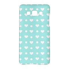 Hearts Dots Blue Samsung Galaxy A5 Hardshell Case