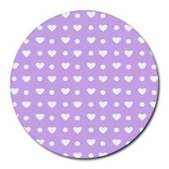 Hearts Dots Purple Round Mousepads