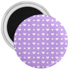 Hearts Dots Purple 3  Magnets