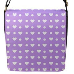 Hearts Dots Purple Flap Closure Messenger Bag (s)
